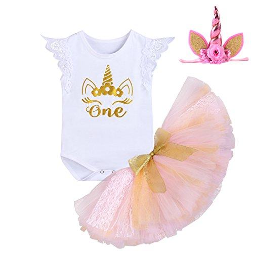 dbf1dc102 First Birthday Cake Smash Unicorn Baby Girl Bodysuit Tulle Skirt Head wear  Costume Clothing Set 3PCS