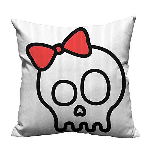 YouXianHome Lovely Cushion Covers Baby Skull Girl with Lace and Halloween Dead Head Teen Resists Stains(Double-Sided Printing) 26x26 inch