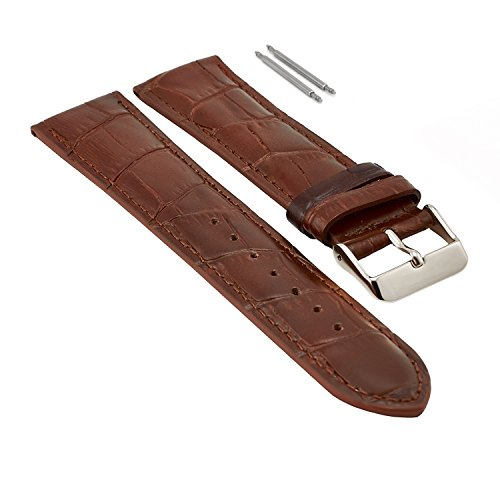 22mm Brown Leather Watch Band for Men, Silver Buckle, Leather Watch Bands for Men, Genuine Leather Watch Strap, Extra Long XL, Crocodile Print Leather, 2 Free Pins, Easily Changeable