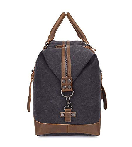 36183c5bb0 MAGE MALE Canvas Travel Duffel Bag PU Leather Weekend Bag Overnight Carry  on Gym Tote Handbag