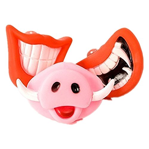 Fully 3x Funny Puppy Dog Toys Big Devil Red Lip Pig Nose Rubber Sound Squeaker Squeaky Chew Toys Nontoxic ()