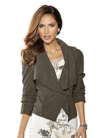 Alba Moda Damen Lederjacke, braun, Mit Schalkragen und