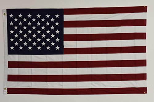 USA American 50 Stars 100% Cotton EMBROIDERED Flag 3'x5′ Banner Grommets For Sale