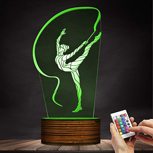 Novelty Lamp, 3D Led Lamp Rhythmic Gymnastics Night Light Optical Illusion Remote Control 15 Colors with USB Charging Interior Lighting Children's Birthday Present New Year and Anniversary,Ambient Li by LIX-XYD (Image #3)