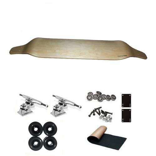 "Carve-One Blank Natural Drop Down Freeride Downhill Longboard Complete 41"" w/ Gullwing Sidewinder Trucks"