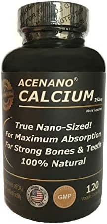 Best Calcium Supplement (True Nano Sized Calcium for Superior Absorption), in Capsules. Made in USA by AceNano
