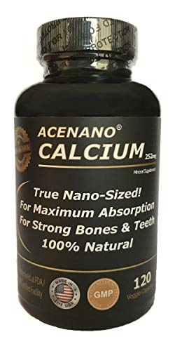 Best Calcium Supplement (True Nano Sized Calcium for Superior Absorption), in Capsules. Made in USA by AceNano (Nano Calcium)