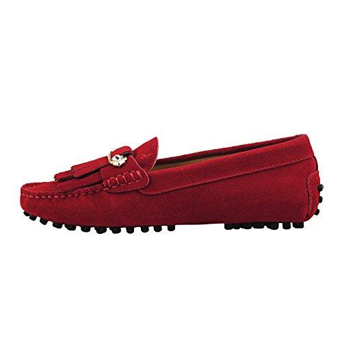 Shenduo Zapatos Primavera - Mocasines de cuero con suela goma cómodos para mujer D7066 Rojo