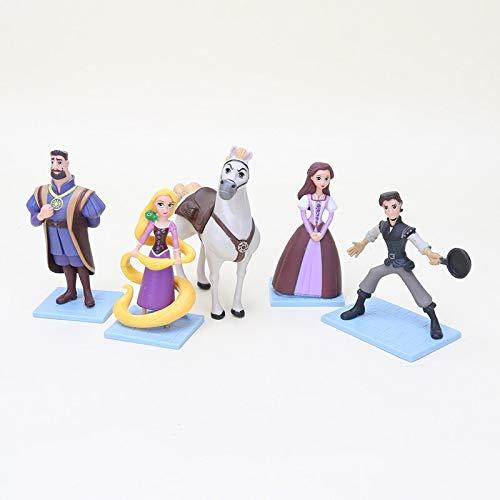 Arshily - 5pcs/lot Tangled Rapunzel Princess PVC Action Figures Dolls Flynn Rider Pascal Magic Girl Action Figure Doll Toys -