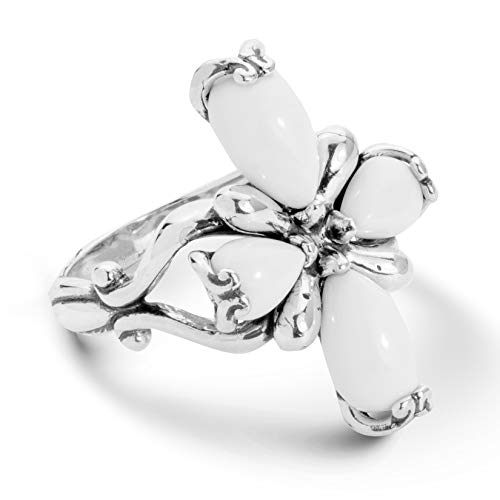 (Carolyn Pollack Sterling Silver White Agate Gemstone 4 Petal Cross Ring Size 8)