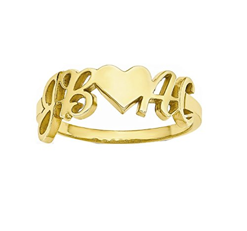 Roy Rose Jewelry 14K Yellow Gold Heart Couple's Initial Personalized Custom Love Romance Ring - Size 5 by Roy Rose Jewelry