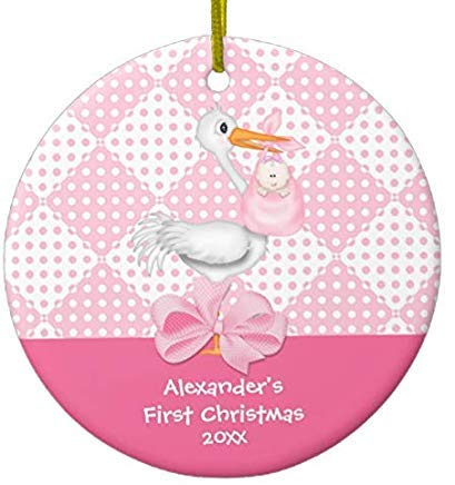 Cheyan Baby's First Christmas Xmas Trees Home Decorated Ceramic Ornaments Porcelain Ornament Personalize Souvenir Baby Girl Stork
