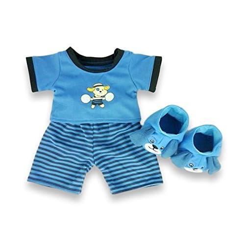 Build Your Bears Pyjama et chaussons pour ours en peluche Motif chien 38,1cm (Bleu)