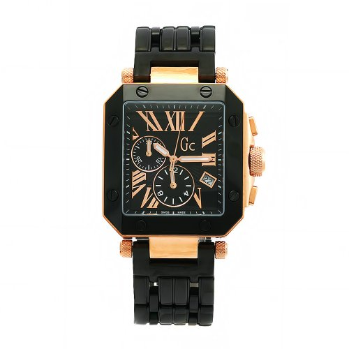 GUESS Men's 63002G1 GC Two-Tone Rose Gold Plated Black Dial Watch