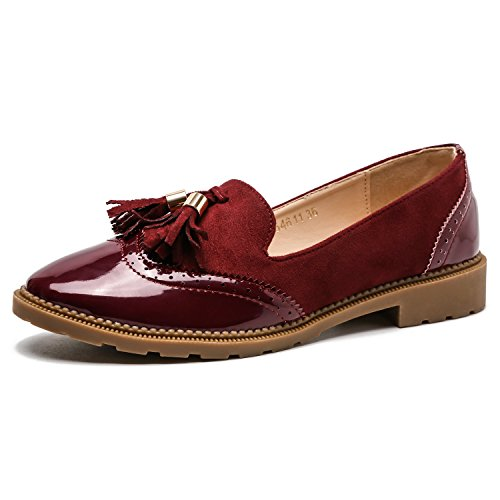 Comfortable Slip Pointy Women��s Tassel Oxford on Wine Shoes Heel Low Red Toe Candollar 6SwOZxqBB