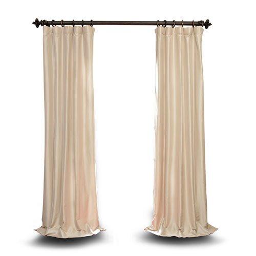 Silk Taffeta Drapery (Rose Street Beige 108 x 50 In. Faux Silk Taffeta Single Panel Curtain)