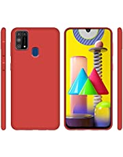 ROCK Samsung Galaxy M31 Cover Liquid Silicone Soft TPU Case Ultra Thin Shockproof Bumper Cover (RED)