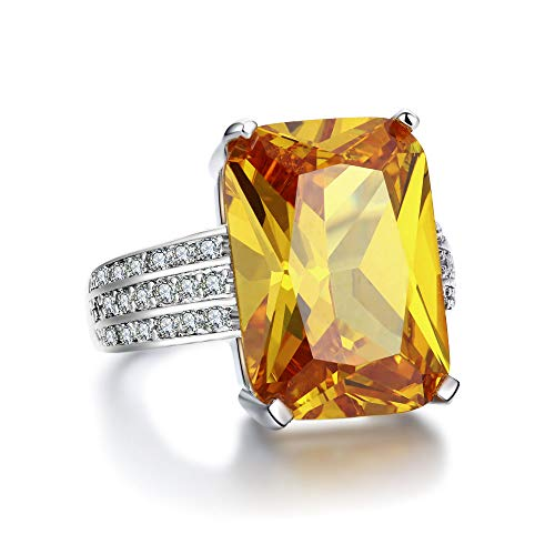 MDEAN Swarovski Crystal Rings for Women Size 6-10 - White Gold Plated Yellow Zircon Jewelry