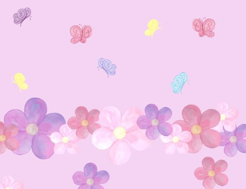 Create-A-Mural Pastel Flower & Butterfly Wall Stickers (3...