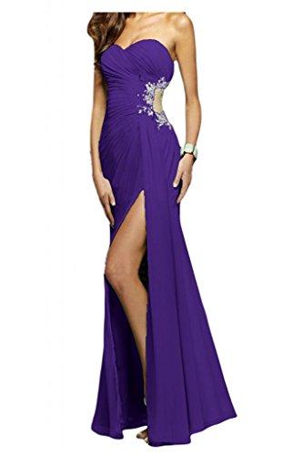 Toscana sposa elegante completamente a forma di cuore Chiffon & tulle abiti da sposa giovane a lungo per una serata Party abiti da sposa viola 44