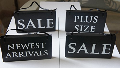 retail-signs-set-of-4-with-ribbons-handmade-retail-sale-newest-arrivals-plus-size-sign-business-sign
