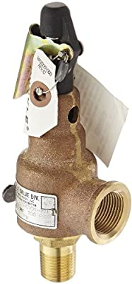 """Kunkle 6010DCV01-KM0100 Bronze ASME Safety Relief Valve for Air/Gas, Viton Soft Seat, 100 Preset Pressure, 1/2"""" NPT Male Inlet x 3/4"""" NPT Female Outlet by Tyco Valves & Controls"""
