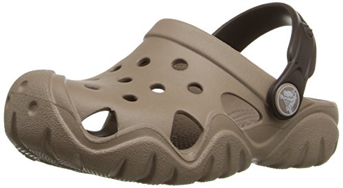 Crocs Kids' Swiftwater Clog K, Mushroom/Espresso, 11 M US Little Kid ()
