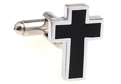(Priest Black Cross Men's Cufflinks for Party Wedding Cuff Links One Pair)