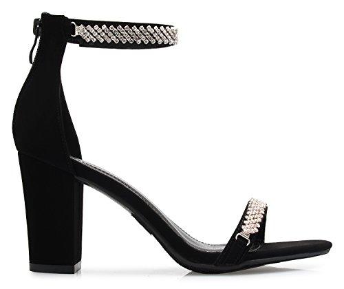 OLIVIA Shoes K Open Buckle Glitter Sexy Women's Sandals Rhinestone Black Block Rhinestone Dress Heel Zipper Toe qqIUwx