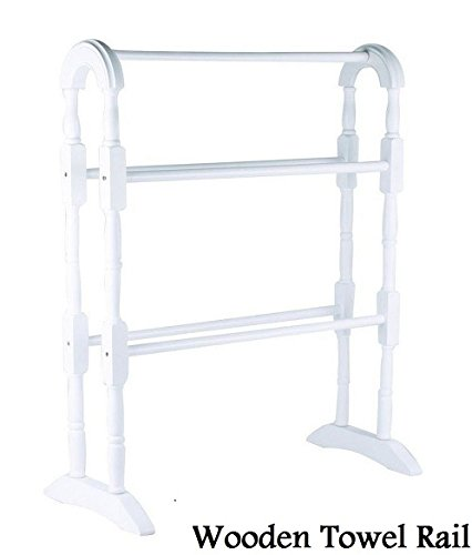 Apollo Bathroom Wooden Free Standing Towel Rail Rack Hanger