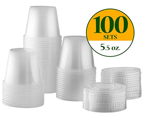 Portion Cup - 5.5 oz. Plastic Disposable Portion Cups With Lids [100 Sets] Souffle Cups, Condiment Cups