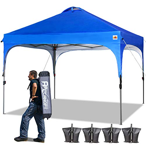 ABCCANOPY 10 x 10 Pop-Up Canopy Tent Beach Canopy Instant Shelter Tents Canopy Popup Outdoor Portable Shade with Wheeled Carry Bag Bonus Extra 4 x Weight Bags, 4 x Ropes& 4 x Stakes, Royal Blue