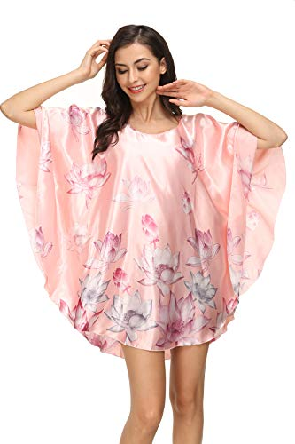Kiddom Women's Plus Size Satin Pajama Sexy Nighgowns Ladies Sleepshirt Girl's Sleepwear Batwing -