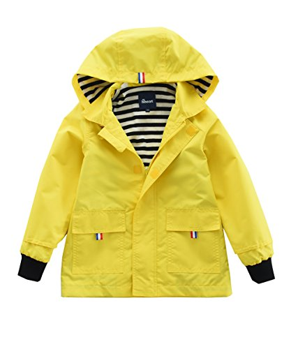Hiheart Boys Waterproof Hooded Jackets Cotton Lined Rain Jackets (7/8, Yellow)