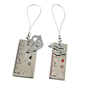 El tono de plata par Regla w Flecha del corazón correas colgantes del teléfono para los amantes