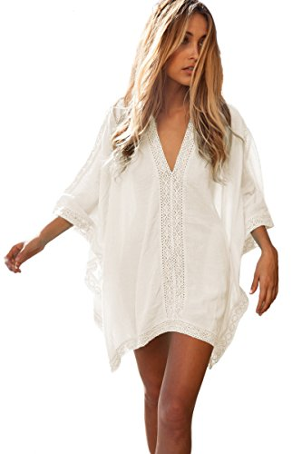 577c1f9160df1 MAXCOZZI Womens Solid Oversized Beach Dress Bathing Suit Swimsuit Cover Ups  Kaftan (One Size(Fit US10-18), White)
