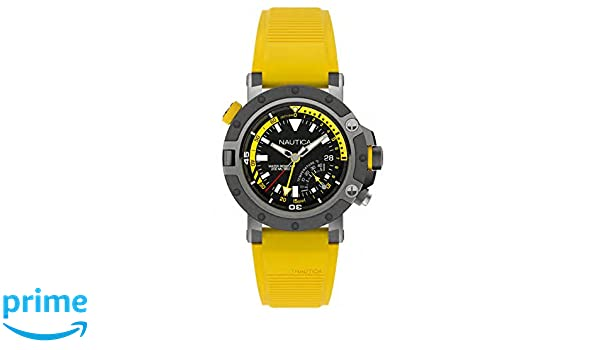 Amazon.com: Nautica Mens Porthole Stainless Steel Analog-Quartz Silicone Strap, Yellow, 24 Casual Watch (Model: NAPPRH003: Nautica: Watches