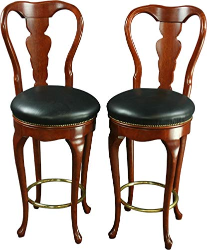 - EuroLuxHome Pair Queen Anne New Bar Stools Mahogany/Faux Leather Swivel Seats