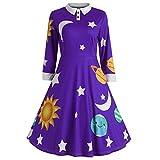Evening Dresses for Women, Fashion Womens Sun and Moon Star Print Botton Long Sleeve Flare Vintage Dress(Purple, S)