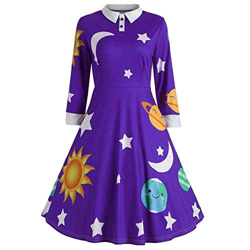 Youngh New Womens Dress Sun And Moon Star Print Botton Loose Large Size Fashion Winter Vintage Party Dress by Youngh Dress
