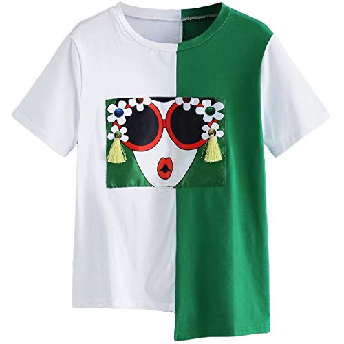 SheIn Women's Summer Short Sleeve Color Block T Shirts Graphic Printed Tee Tops Medium Green and White