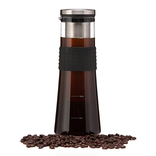 Cold Brew Coffee Maker by Ozybrew - 1L/32Oz. Glass Carafe/Pitcher, Silicone Hand Grip, Stainless Steel Filter/Infuser, Smooth Cold Brew Ice Coffee Pitcher by Ozybrew
