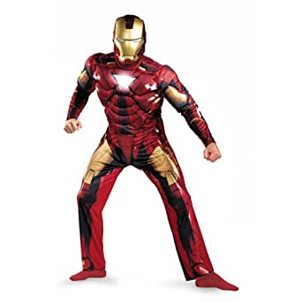 Disguise Marvel Men's  Iron Man Mark 6 Classic Muscle Adult,Multi,XL (42-46) Costume