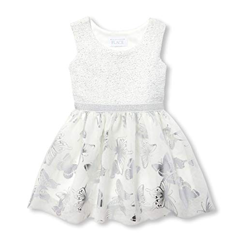 The Children's Place Baby Girls Special Occasion Printed Dress, Simplywht, 18-24MONTH