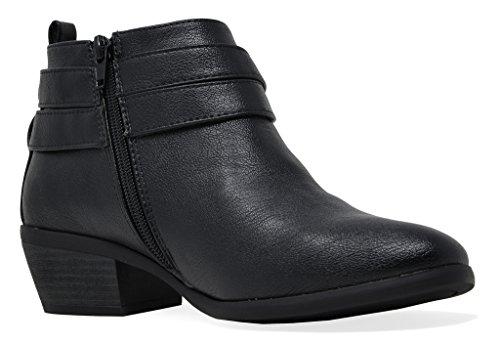 pu Booties Cowboy Black Heel Women's Side Block TOETOS Zipper Ankle 4P0vqz0wO