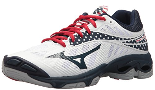 Mizuno Wave Lightning Z4 Volleyball Shoes, White/Navy/red, Women's 6 B US