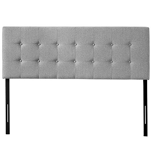 HOME BI Upholstered Tufted Button Linen Fabric Headboard Full/Queen Size(Light Grey) Review