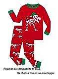 Christmas Dinosaur Little Boys Long Sleeve Pajamas 100% Cotton Sleepwears Size 5