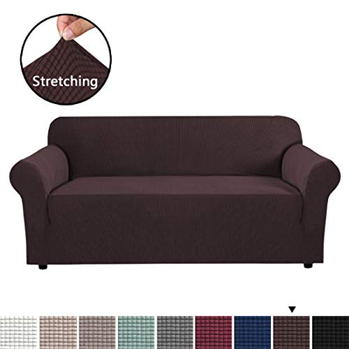 H.VERSAILTEX Stretch Sofa Covers 1 Piece Furniture Protector Couch Cover Feature Rich Textured Lycra High Spandex Small Checks Jacquard Fabric Sofa Cover Lounge Cover for 3 Seater (Sofa: - Seater 3 Small