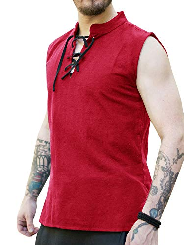Appler Men's ROGUE SHIRT Renaissance Clothing, Medieval Clothing, Red Pirate Shirt, Steampunk Costume, Pirate Costume, Viking Tunic, L -